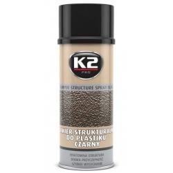 Struktūriniai dažai plastikui K2 BUMPER STRUCTURE SPRAY, 400ml (juodos spalvos)