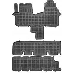 Guminiai kilimėliai RENAULT Trafic III nuo 2014 (8 vietų, trys eilės be ortakio, Paaukštintais kraštais)