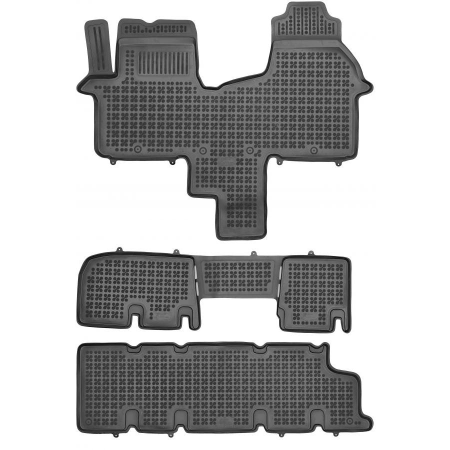 Guminiai kilimėliai OPEL Vivaro II 2014→ (8 vietų, trys eilės su ortakiu, Paaukštintais kraštais)