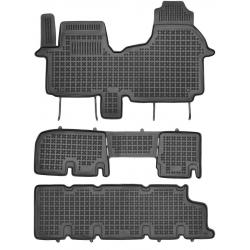 Guminiai kilimėliai OPEL Vivaro II 2014→ (9 vietų, trys eilės su ortakiu, Paaukštintais borteliais)
